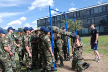 Civil Air Patrol members participate in a team-building exercise during the Colorado CAP encampment June 13th through Saturday at the Preparatory School here. Photo by Ann Patton