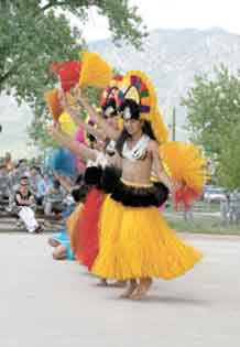 Pacific Pride and Island Hearts Dance Company dancers perform a traditional Tahitian dance May 28.