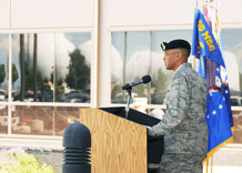 Lt. Col. Vincent Fisher addresses the men and women of the 50th Space Wing, guests, family and friends during the 50th Security Forces Squadron assumption-of-command ceremony June 30. Colonel Fisher assumed command of 50th SFS after more than 17 years as a security forces officer who has served at the unit, field operating agency and squadron command level.