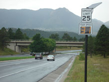 Adhering to the posted speed limits when approaching the final denial barriers will give drivers adequate time to stop their vehicle if the barriers deploy. The final denial barriers are part of USAFA's Antiterrorism Plan and recommended DoD force protection enhancement. (Courtesy Photo)