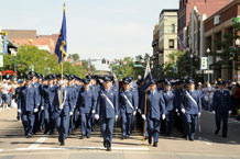 Cadet Squadron 38 marches down Tejon Street during the Red, White and Brave Parade in downtown Colorado Springs, Saturday. Photo by Mike Kaplan