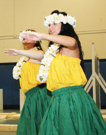 Lei adorned performers with the Magic of the Pacific Islands Dancers demonstrate a traditional polynesian dance.