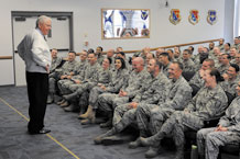 Former Chief Master Sgt. of the Air Force Robert Gaylor spent an hour with approximately 130 students attending the Forrest L. Vosler Noncommissioned Officer's Academy here Dec. 11. Chief Gaylor, the fifth chief master sergeant of the Air Force, advised the Airmen to take advantage of the opportunities the Air Force presents and to take charge of their careers. During his two-day visit, the chief attended Chief Master Sgt. Tim Omdal's retirement dinner and retirement ceremony. (Air Force photo by Larry Hulst)