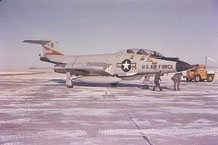 "The Peterson Air and Space Museum's F-101 ""Voodoo"" will soon occupy a new display site at the intersection of Peterson Boulevard and Hamilton Street. After installation, the aircraft will be repaired, restored, and repainted in the colors and markings of the 13th Fighter Interceptor Squadron, reliving its glory days as a first-line, tip-of-the-spear protector of America nearly 50 years ago. (U.S. Air Force photo)"