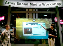 //www.militarydutystations.com, is shown at the Association of United States Army Social Media Workshop exhibition during the annual conference Oct. 25-27.