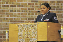 """Tech. Sgt. Chamara Cantrell, noncommissioned officer in charge of the Schriever Dental Clinic for the 21st Medical Group, was the guest speaker Jan. 26 at the Peterson Air Force Base """"Dr. Martin Luther King Jr. Commemorative Service"""" at the base chapel. Sergeant Cantrell told the group that Dr. King said 'everyone can be great because anybody can serve.' (U.S. Air Force photo/Rob L. Bussard)"""