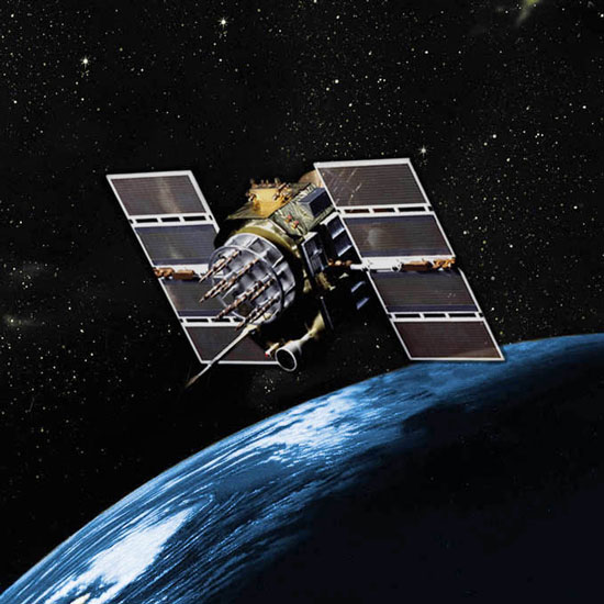 (Courtesy graphic)  An artist's rendition of a GPS Block IIA satellite on orbit. The 2nd Space Operations Squadron will celebrate Satellite Vehicle Number 23's 23rd anniversary Nov. 26.