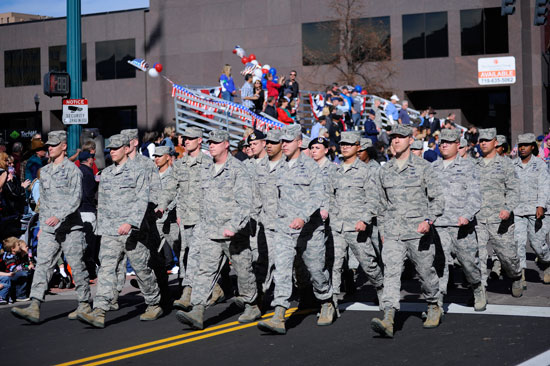 (U.S. Air Force photo/Christopher DeWitt)  Members of the 50th Space Wing march in the Colorado Springs Veterans Day Parade Friday. Representatives from all of the front range military installations participated in the parade.