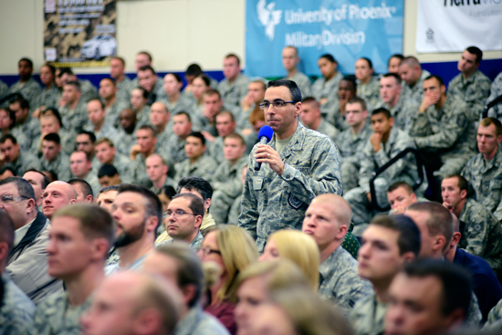 (U.S. Air Force photo/Christopher DeWitt) Col. Bill Liquori, 50th Space Wing commander, holds a commander's call May 12, 2014, at Schriever Air Force Base, Colo., as part of the installation's Wingman and Sexual Assault Prevention and Response week. During the commander's call, Liquori focused on the offenders, their characteristics or indicators, their potential reasons for committing these crimes and how good wingmen can stop them.