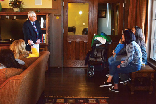 U.S. Air Force photo/Brian Hagberg Dr. Pat Cullen, Ellicott School District superintendent (left), listens to a question from a housing resident during a meet and greet March 10, 2015, at the Tierra Vista Community Center at Schriever Air Force Base, Colo. TVC staff planned the event in response to requests from residents to improve communications with the district.