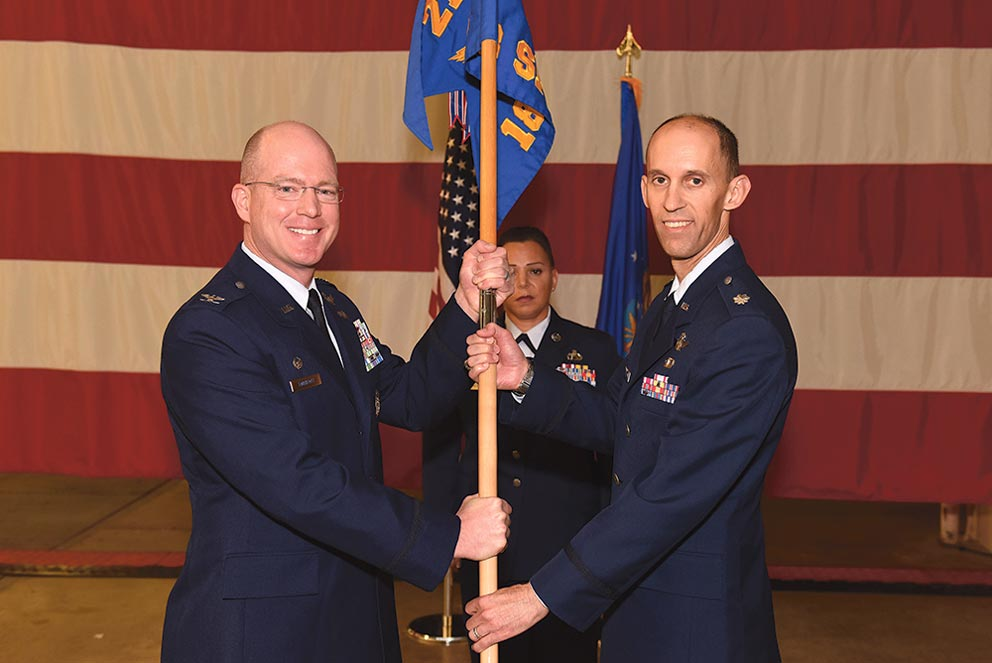 (U.S. Air Force photo by Airman 1st Class Robert J. Volio) VANDENBERG AIR FORCE BASE, Calif. — Col. Troy Endicott, 21st Operations Group commander, assigns command of the 18th Space Control Squadron to Lt. Col. Scott Putnam, 18th SPCS commander, during an assumption of command ceremony, July 22, 2016, Vandenberg Air Force Base, Calif. Putnam assumed command of the 18th SPCS, the newest space surveillance unit that will fall under the 21st Space Wing.