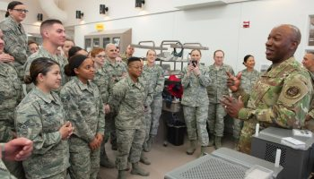 Chief Master Sgt  Wright gives all call at Peterson AFB