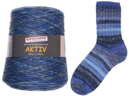 Aktiv Sock Yarn 400g Cone color Marine DENIM ATLANTIS 1