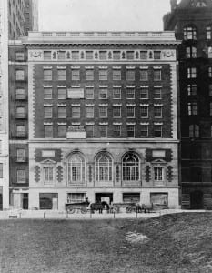 "Orchestra Hall nearly finished in the late fall of 1904 (note ""offices for rent"" sign above a ballroom window)"