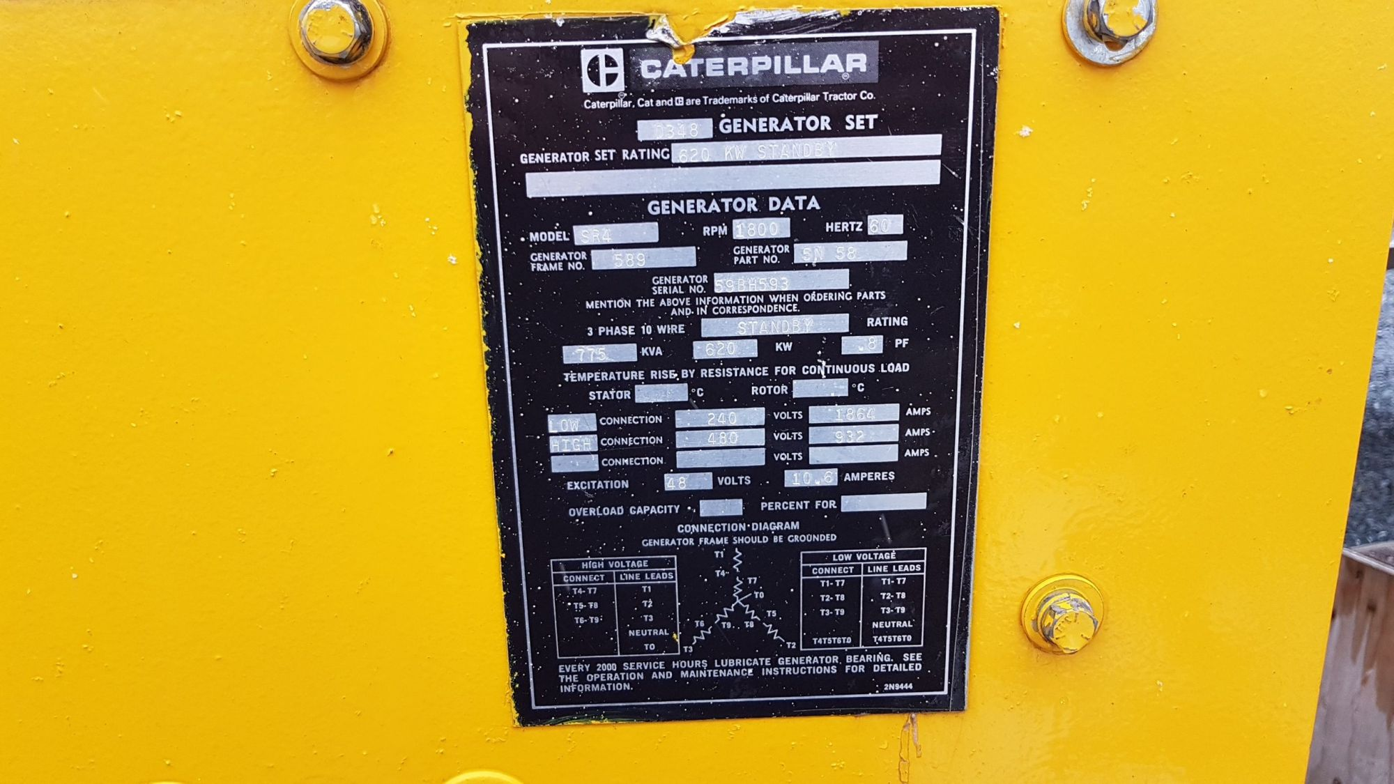 hight resolution of pre owned 775 kva generator d348 caterpillar set model sr4 for sale