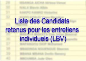 Liste des Candidats retenus pour les entretiens individuels à Libreville
