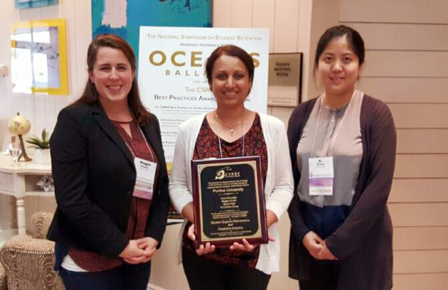 Maggie Konich, Monal Patel and Xi (Cecilia) Zhang of Purdue University with the Institutional Research Leadership in Student Retention Award