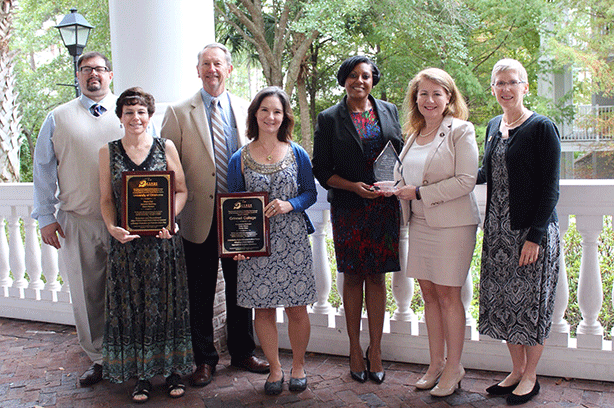 (L-R) Jeremiah McKinley, Sherry Cox, Randy Stiles, Georgeanna Robinson, Penny McPherson-Myers and Rory McElwee-with CSRDE Director Sandra Whalen