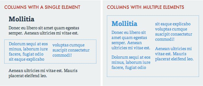 single and multi element columns