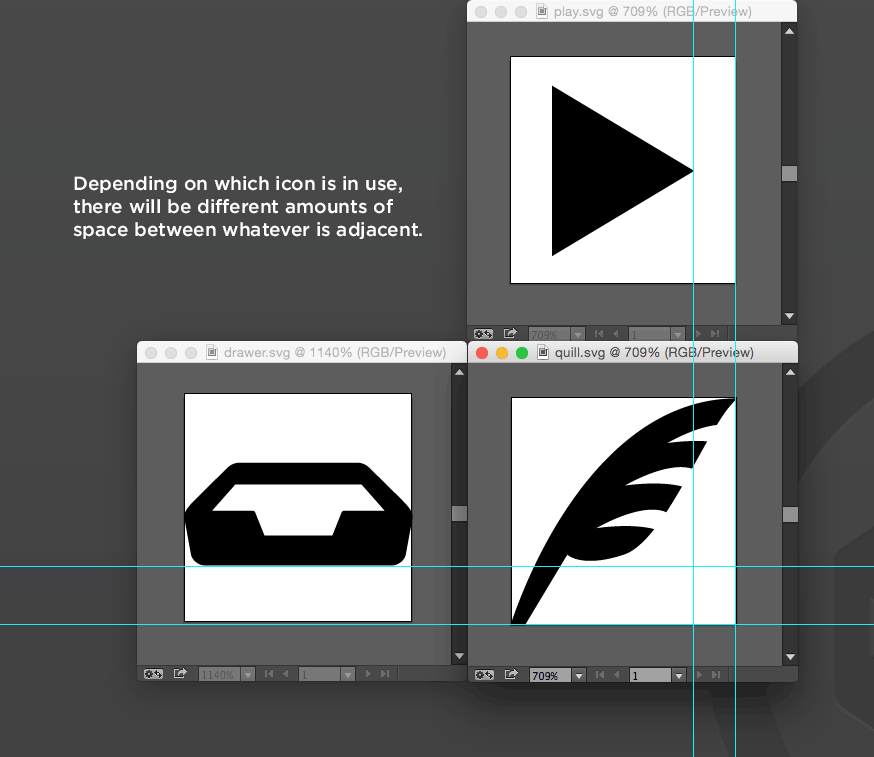Depending on which icon is in use, there will be different amounts of space between whatever is adjacent.
