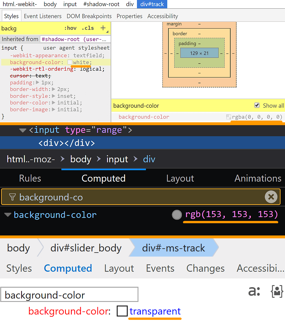 Comparative screenshots of DevTools in the three browsers showing the computed values of background-color for the track.