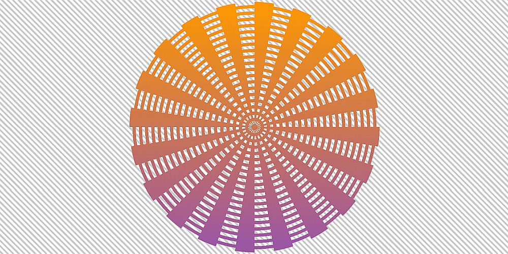 Screenshot. We have the same radial slices with equal gaps in between, and over them, a layer of ripples - concentric rings with gaps equal to their width in between them. The whole thing has a top to bottom gradient (orange to purple) with transparent parts where the gaps of the two layers intersect.