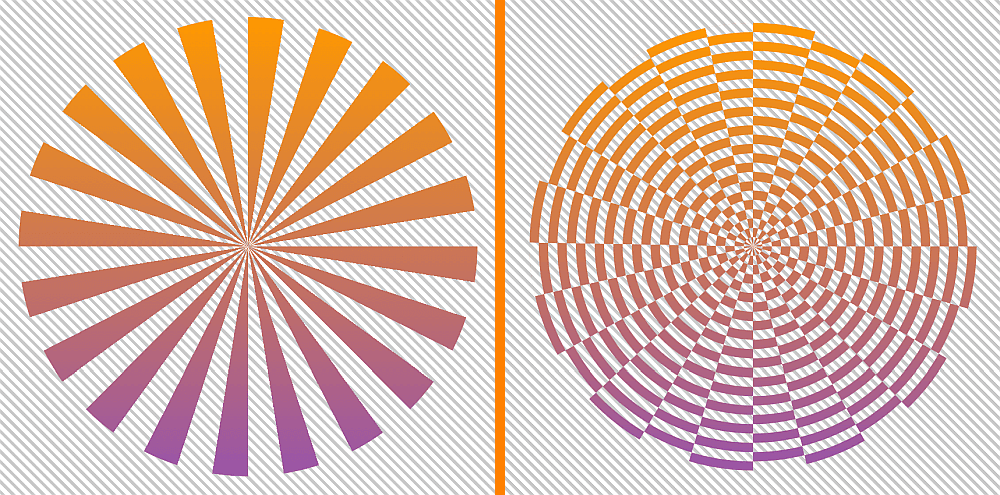 Screenshots. On the left, a screenshot of equal radial slices of a pie with transparent slices (gaps) in between them. The whole assembly has a top to bottom gradient (orange to purple). On the right, the XOR operation between what we have on the left and a bunch of concentric ripples. Again, the whole assembly has the same top to bottom gradient.