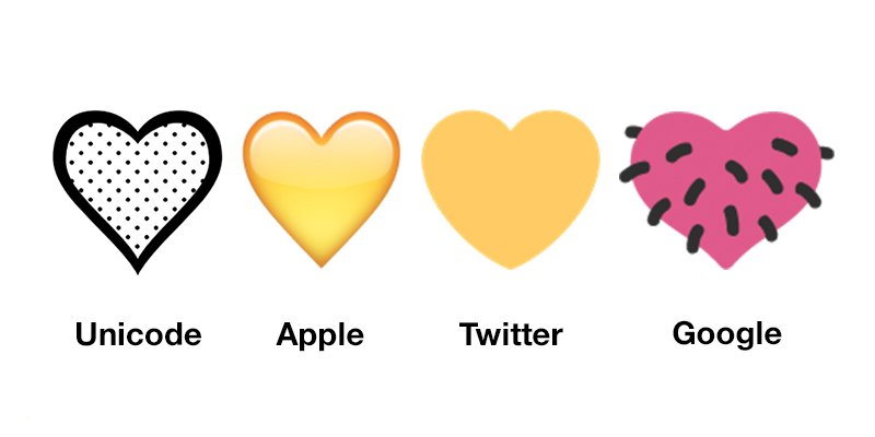 A row of four hearts in dots, beveled yellow, flat yellow and pink with hair strands, respectively.