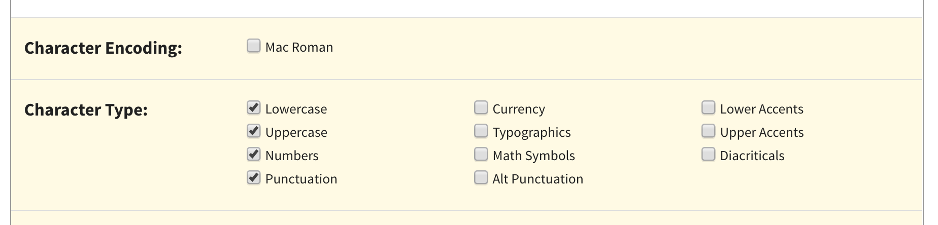 A screenshot of the selected types of glyphs to export.