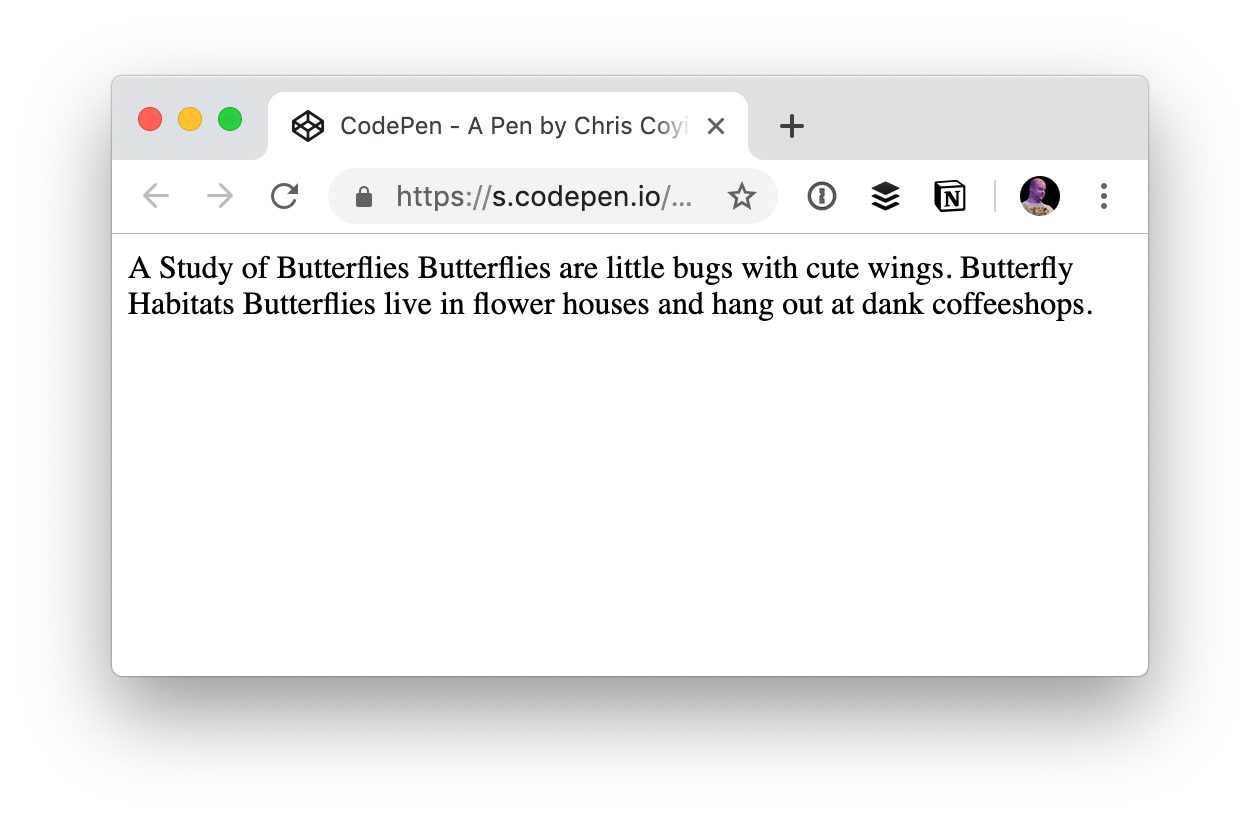 A screenshot of the HTML rendered on the front end, which displays as a single line of text.