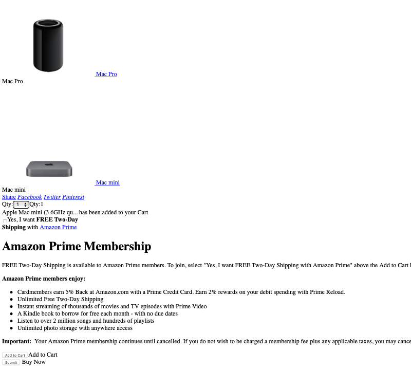 Part of product page showing Amazon Prime membership info