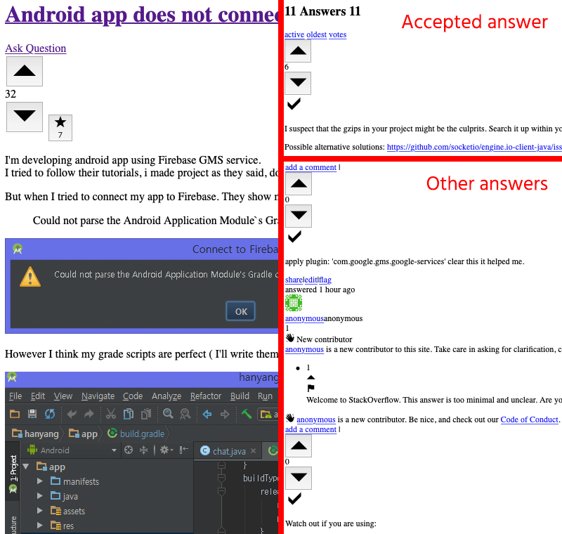 Answered question with black checkmarks next to an accepted answer and other answers