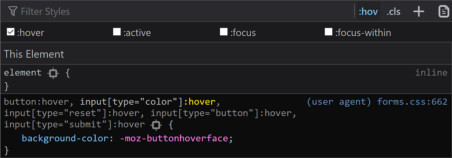 Screenshot of Firefox DevTools showing the rule set that shows up for the :hover state.
