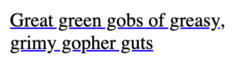 Text with underline not cutting through characters