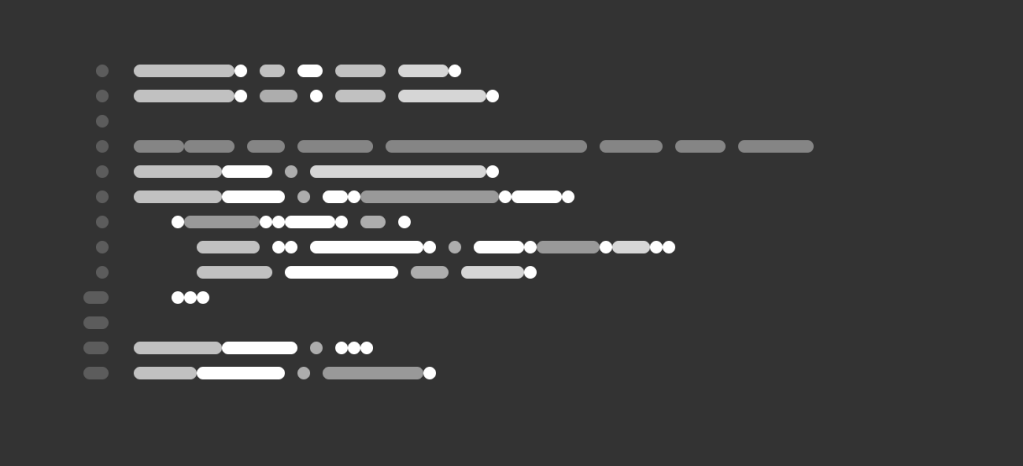 SVG blobs that look like code.