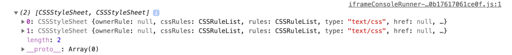 The output of getCSSCustomPropIndex, an array of CSSStyleSheet objects