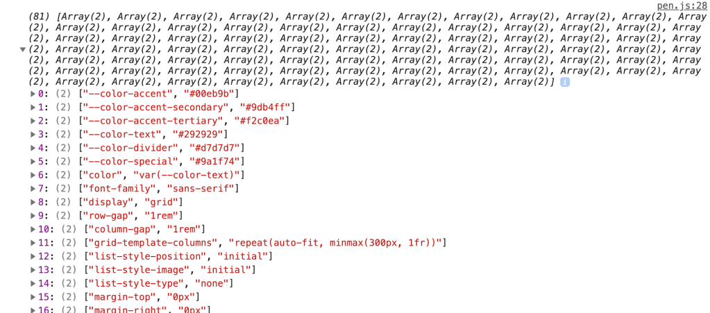 Output of getCSSCustomPropIndex showing an array of arrays containing every property name and value