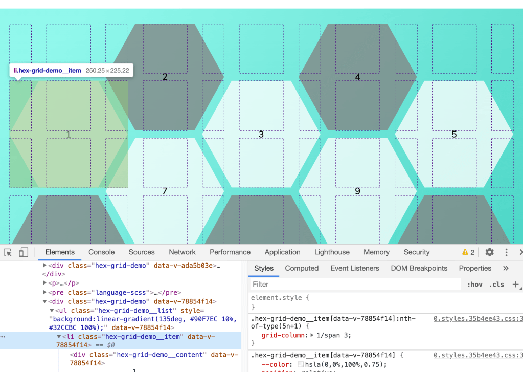 Building a hexagonal grid using CSS grid