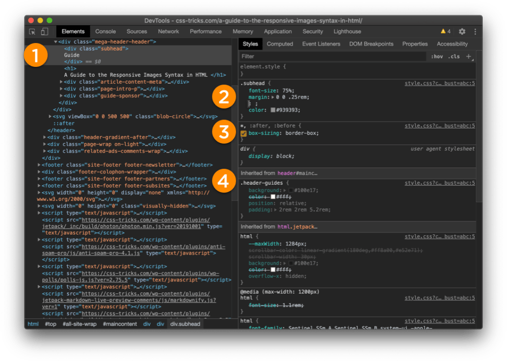 Screenshot of Chrome DevTools in dark mode. DOM elements are on the left and the Styles information is on the right.