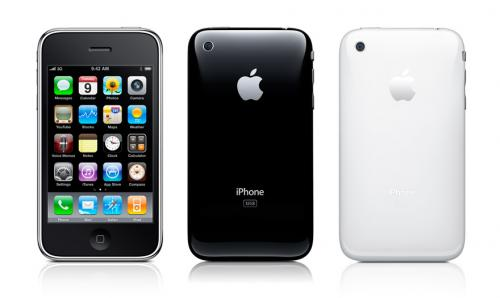 Photo of three iPhone 3 models next to one another. The first shows the home screen, the other two show the back, one in black and one in white. All three phones sport a reflection beneath them.