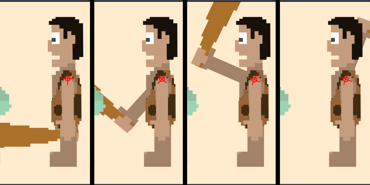 Four sequential frames of an animation showing a caveman character facing left, holding a large wooden club, and raising it up from the bottom to behind his head.