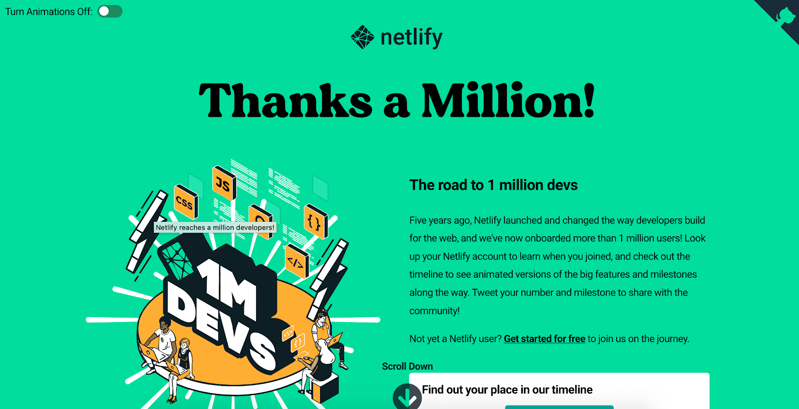 Showing a screenshot of Netlify's Thanks a Million webpage. A toggle to disable animation is located in the top left corner of the page, above the content, which is set against a mint green background.