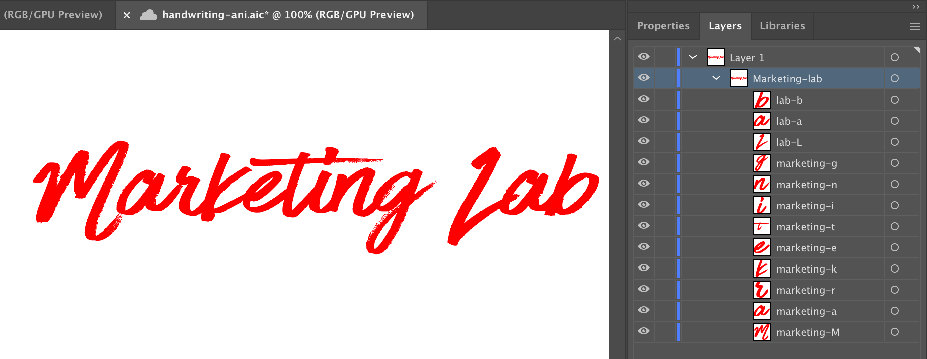 Showing the Illustrator layers of the letters with proper naming.