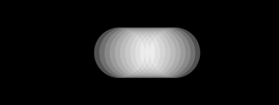 Twelve overlapping white opaque circles on a black background.
