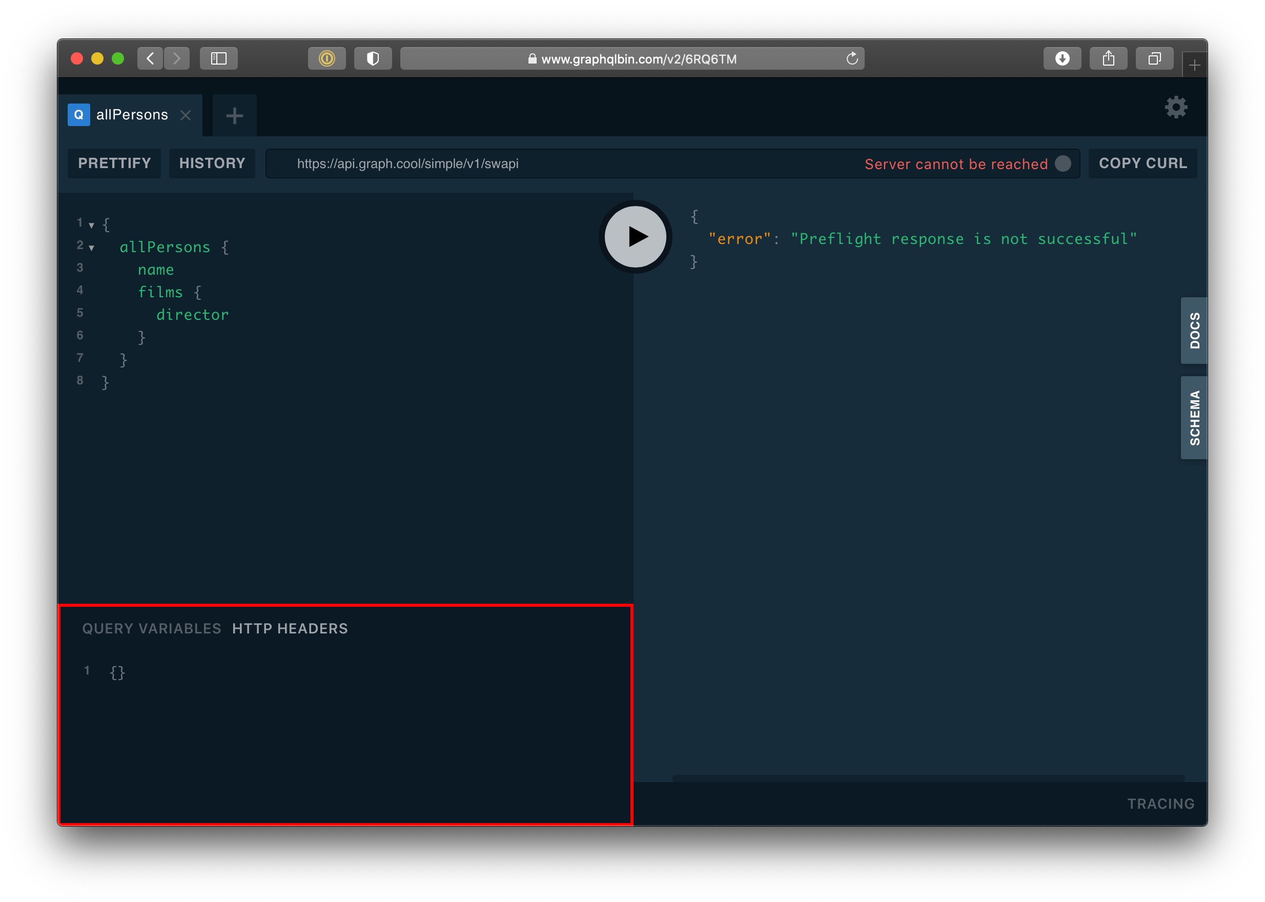 Showing the GraphQL interface with the HTTP Headers tab highlighted in red in the bottom left corner of the screen,