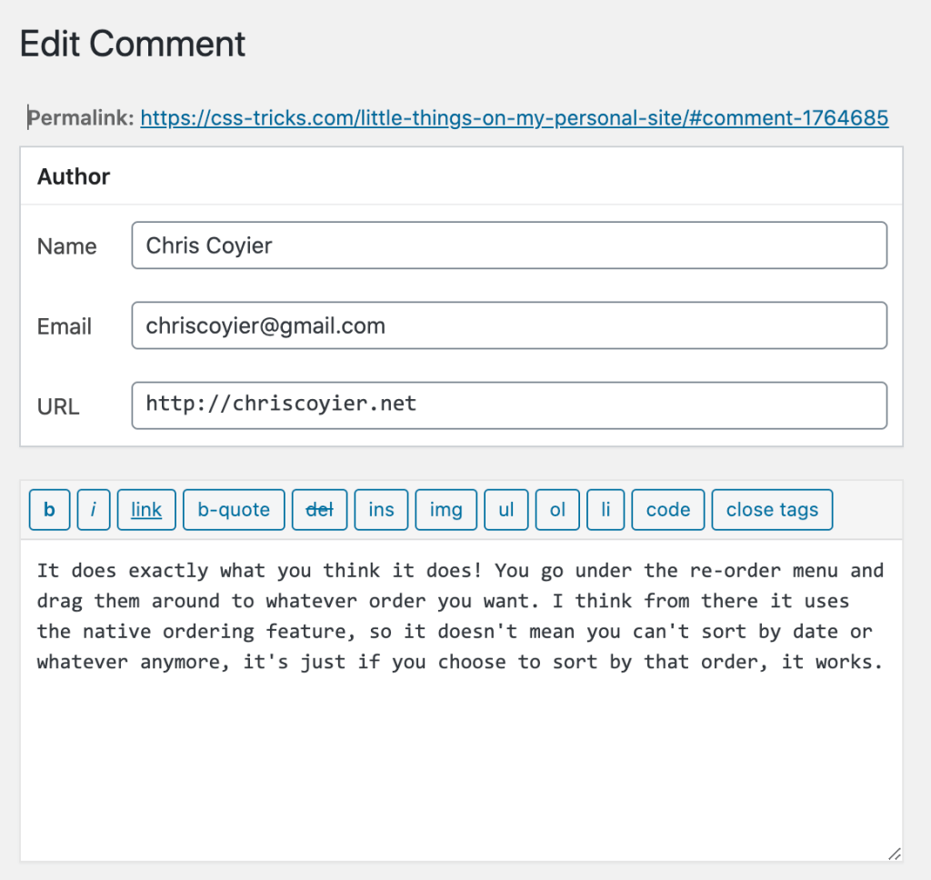 My WordPress Comments Wishlist