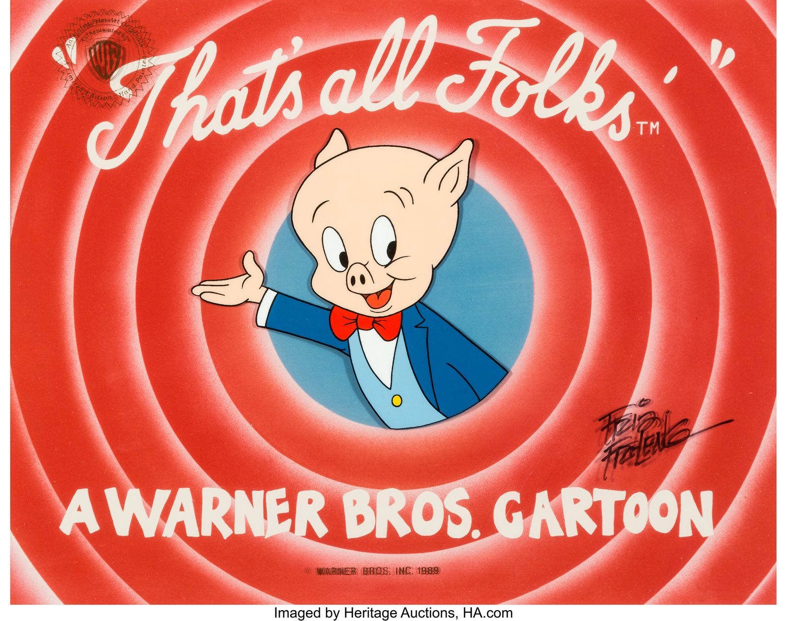 "A film cell of Porky Pig coming out of a circle with the text ""That's all folks."""