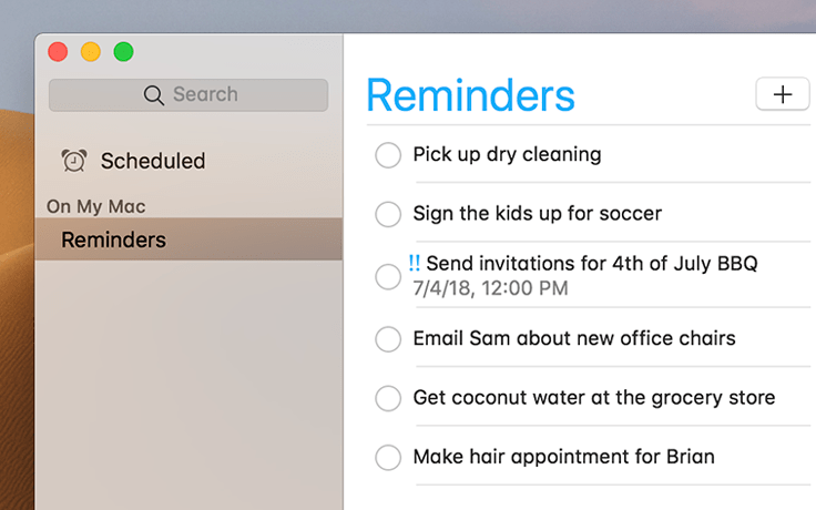 Screenshot of Apple's Reminders app on a desktop. The left column that contains search and navigation is opaque and blends lightly into the desktop background while the solid white right column contains a checkbox list of reminders.