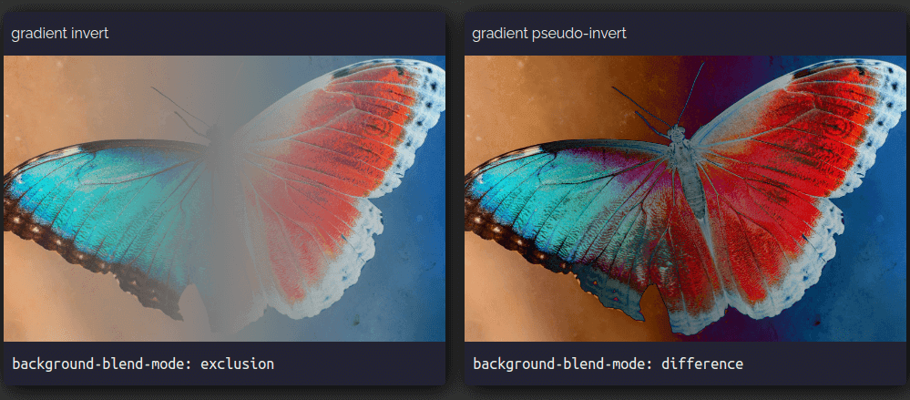 Screenshot of the gradually inverted butterfly image (using the exclusion blend mode) on the left and the pseudo-gradually inverted one (using the difference blend mode) on the right.