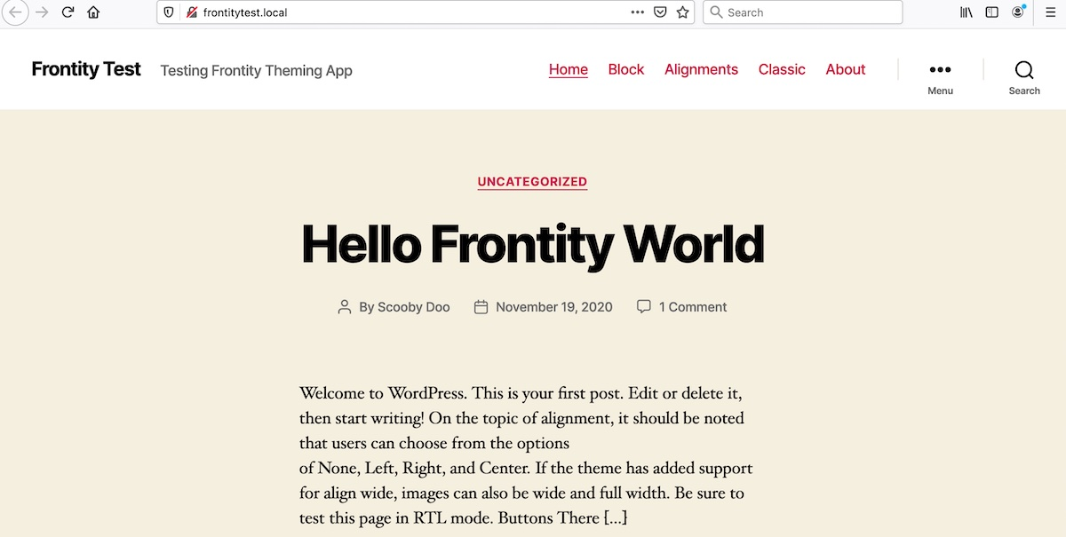 The site displayed in the default WordPress Twenty Twenty theme, with magenta colored links and a soft beige background.